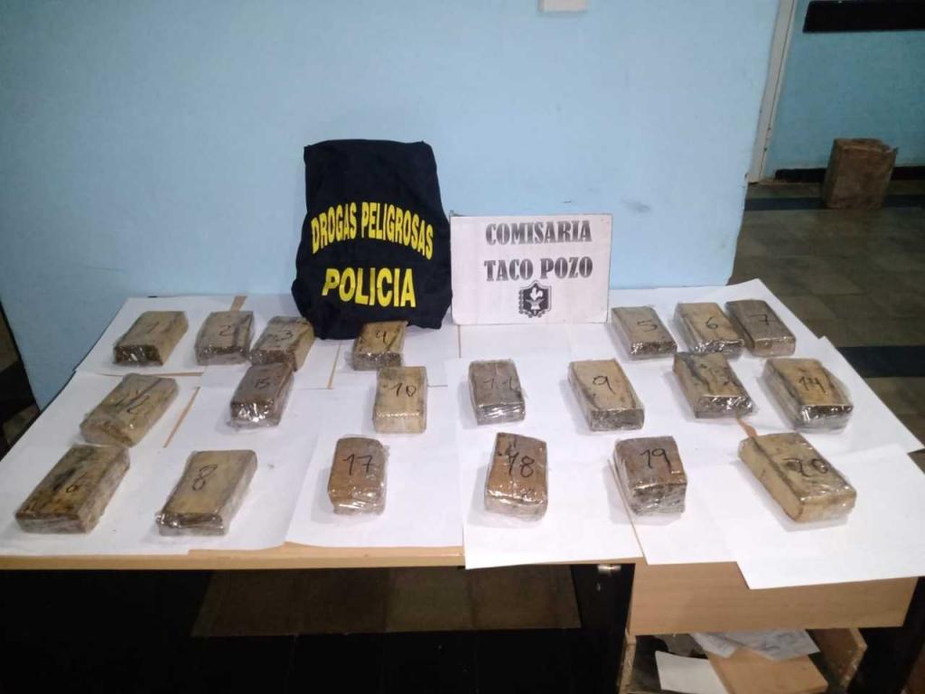 Incautaron más de seis kilos de marihuana abandonados en un paraje de Taco Pozo