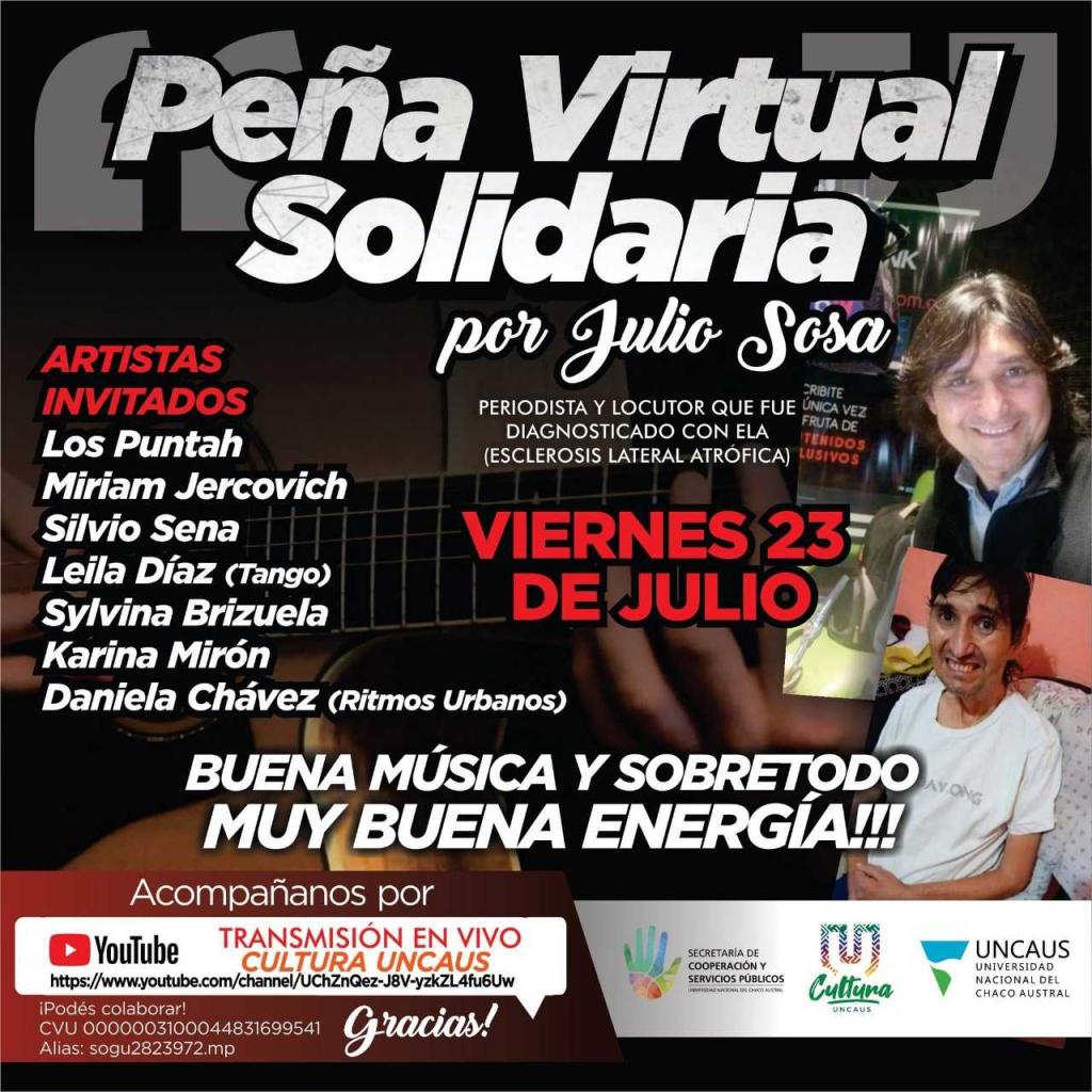 La UNCAUS organiza una Peña Virtual en solidaridad con Julio Sosa
