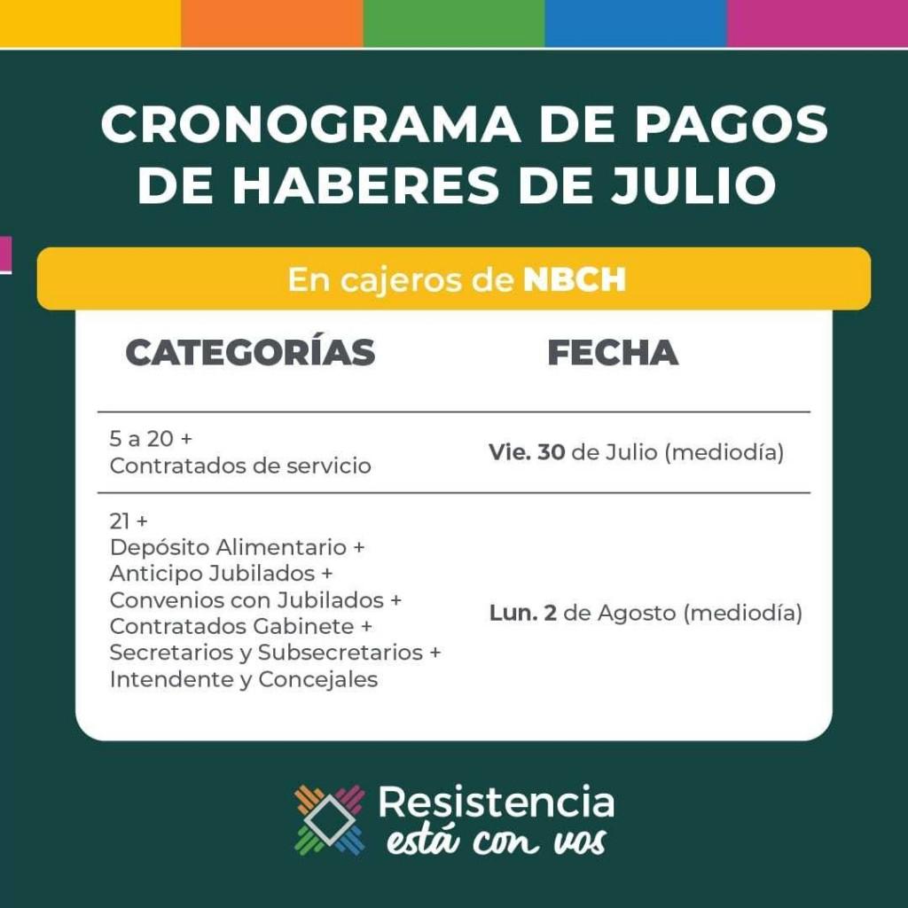 Este viernes comienza el pago salarial de julio para trabajadores municipales de Resistencia